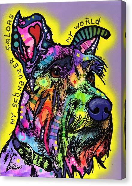 Schnauzers Canvas Print - My Schnauzer by Dean Russo Art