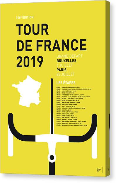 Tour De France Canvas Print - My Tour De France Minimal Poster 2019 by Chungkong Art