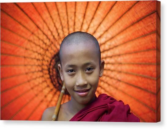 Myanmar, Bagan, Buddhist Young Monk Canvas Print