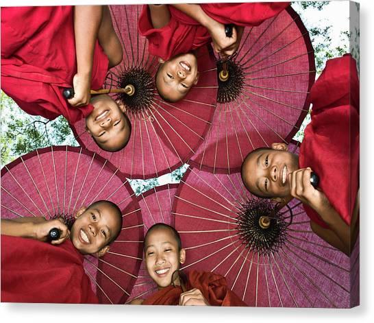 Myanmar, Bagan, Young Buddhist Monks Canvas Print