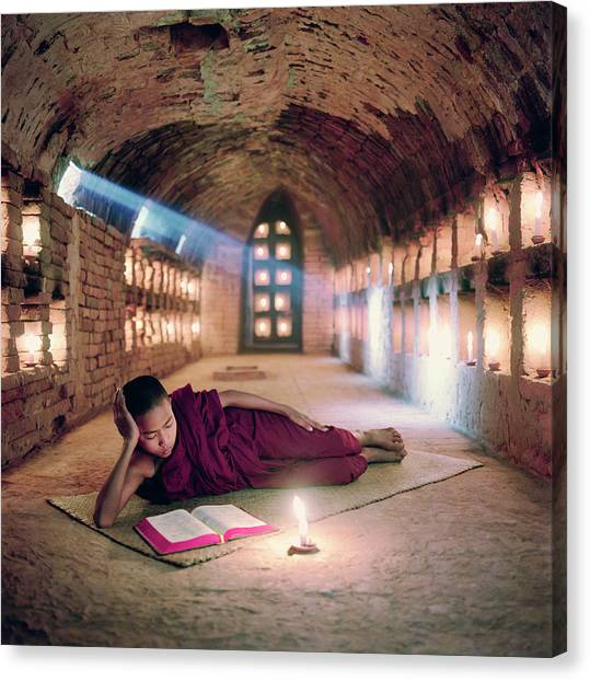Myanmar, Buddhist Monk Inside Canvas Print