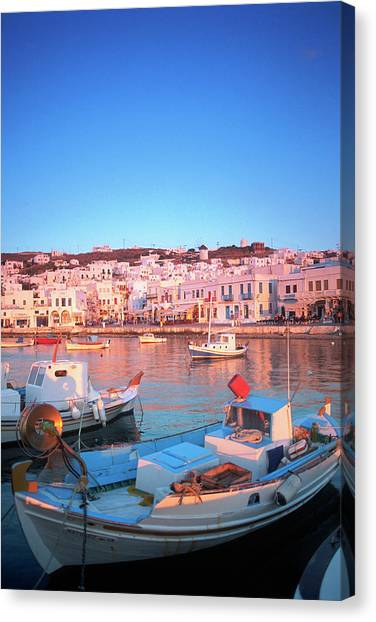 Mykonos Harbor, Mykonos, Greece Canvas Print