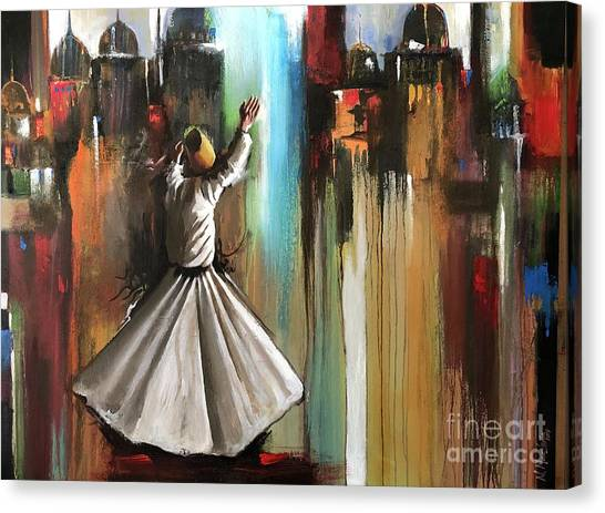 Canvas Print featuring the painting Mystical Journey  by Nizar MacNojia