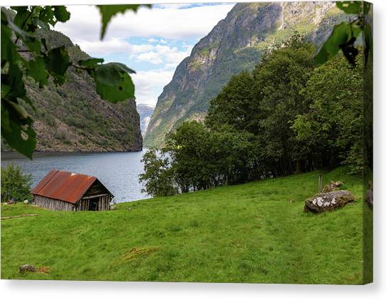 Canvas Print featuring the photograph Naeroyfjord, Norway by Andreas Levi