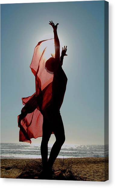Naked Woman Dancing With Red Material Canvas Print