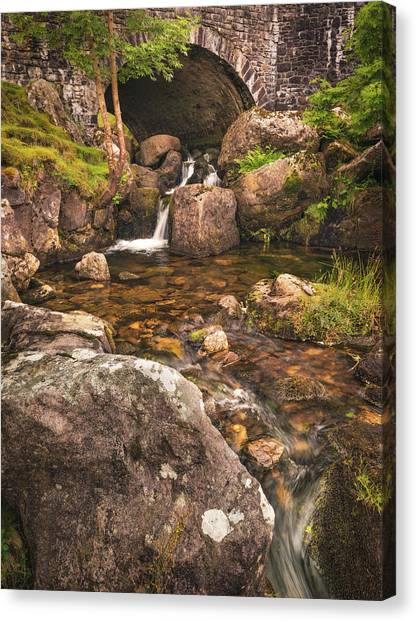 Canvas Print featuring the photograph Nant Gaws Waterfall And Old Stone Bridge by Elliott Coleman