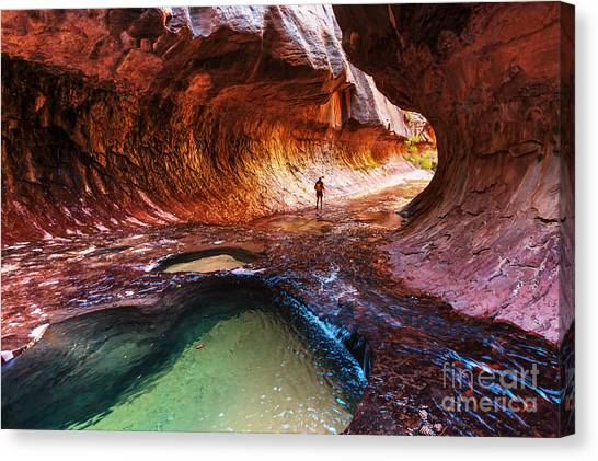 Exercising Canvas Print - Narrows In Zion National Park, Utah by Galyna Andrushko