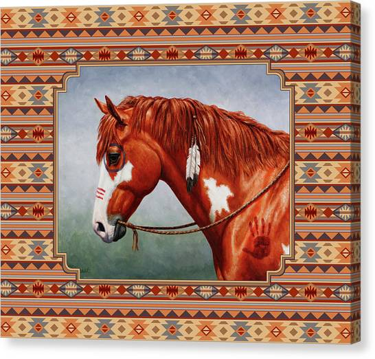 War Horse Canvas Print - Native American War Horse Southwestern Pillow by Crista Forest
