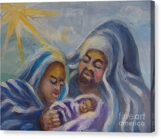 Canvas Print featuring the painting Nativity by Saundra Johnson