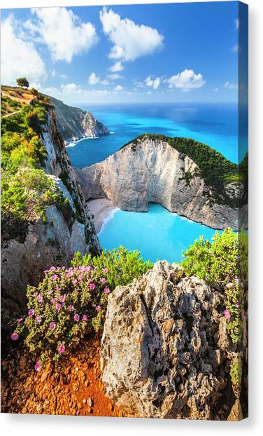 Greece Canvas Print - Navagio Bay by Evgeni Dinev
