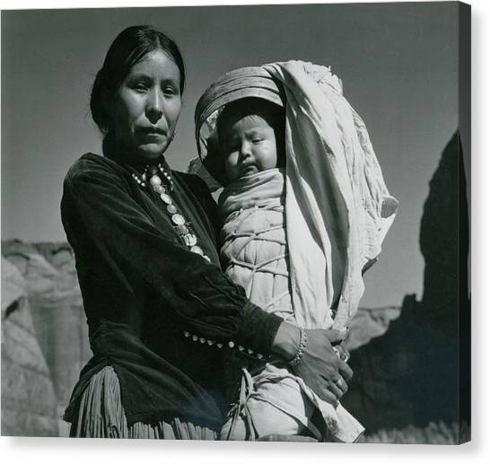 Navajo Woman And Infant, Canyon De Canvas Print