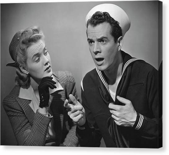 Navy Couple Canvas Print by George Marks