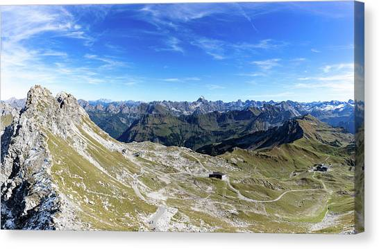 Canvas Print featuring the photograph Nebelhorn Panorama by Andreas Levi