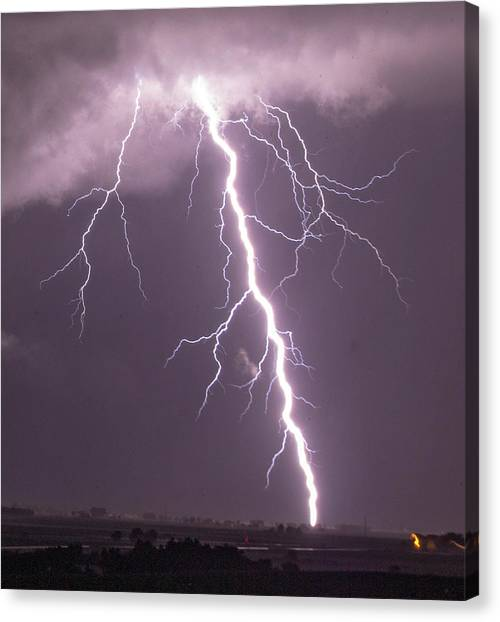 Canvas Print featuring the photograph Nebraska Arcus And Lightning 046 by NebraskaSC