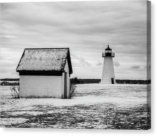 Canvas Print featuring the photograph Neds Point Lighthouse Mattapoisett Ma Bw by David Gordon