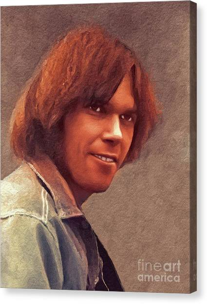 Neil Young Canvas Print - Neil Young, Music Legend by John Springfield