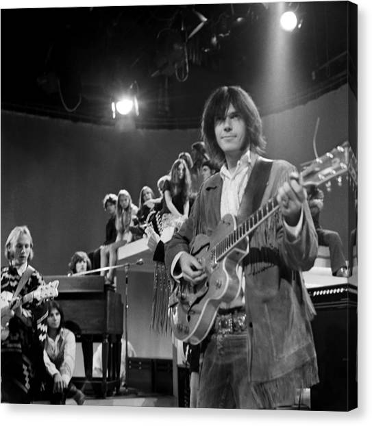 Folk Singer Canvas Print - Neil Young On Tv by Michael Ochs Archives