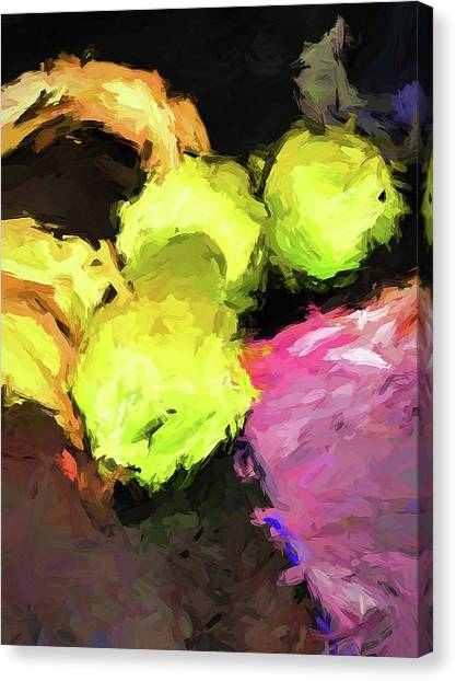 Neon Apples With Bananas Canvas Print