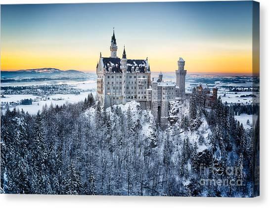 Neuschwanstein Castle At Sunset In Canvas Print by Frank Fischbach