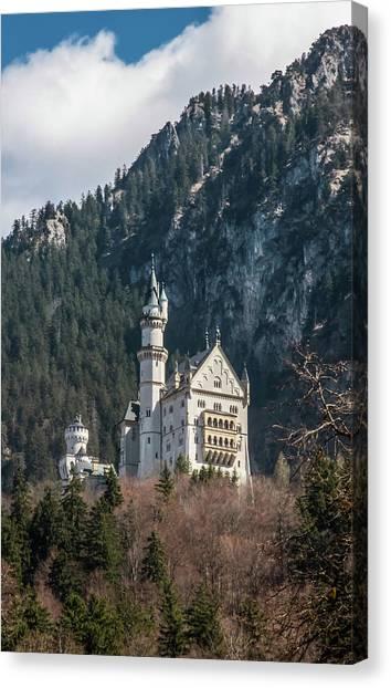 Neuschwanstein Castle On The Hill 2 Canvas Print
