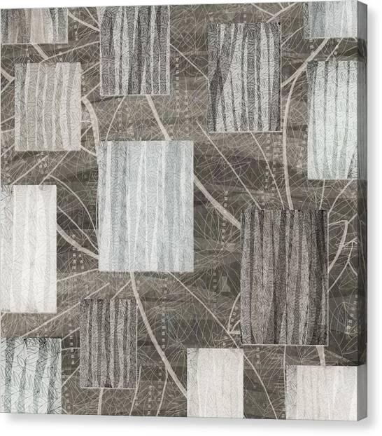 Neutral Leaf Print Squares Cream Canvas Print