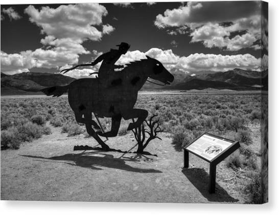Nevada - Pony Express Monument 001 Bw Canvas Print by Lance Vaughn