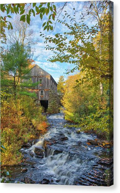 Canvas Print featuring the photograph New England Fall Foliage And Sawmill At Moore State Park by Juergen Roth