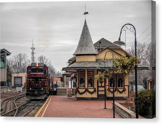 New Hope Train Station At Christmas Canvas Print