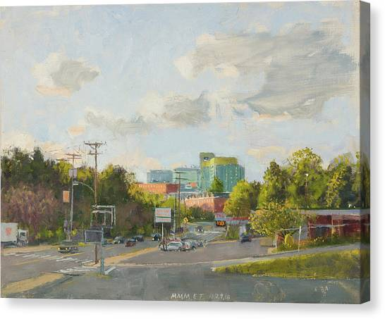 University Of Virginia Canvas Print - New Hospital From Cherry Avenue. 7 By 12 Inches by Edward Thomas