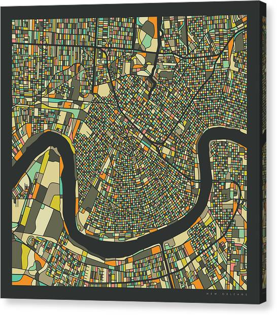 New Orleans Canvas Print - New Orleans Map 2 by Jazzberry Blue