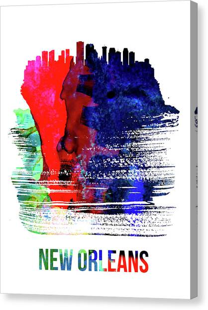 Louisiana Canvas Print - New Orleans Skyline Brush Stroke Watercolor   by Naxart Studio