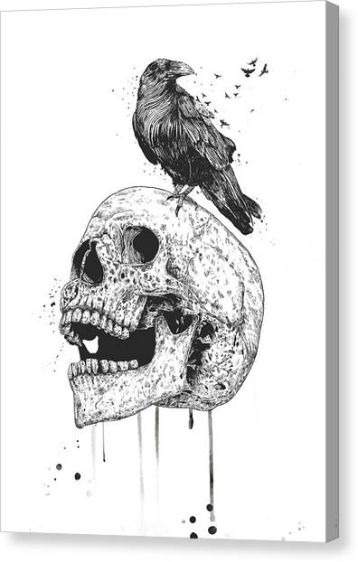 Ravens Canvas Print - New Skull by Balazs Solti