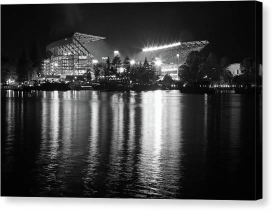 University Of Washington Canvas Print - New Stadium Reflection Monochrome by Max Waugh