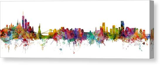 Miami Skyline Canvas Print - New York And Miami Skylines Mashup by Michael Tompsett