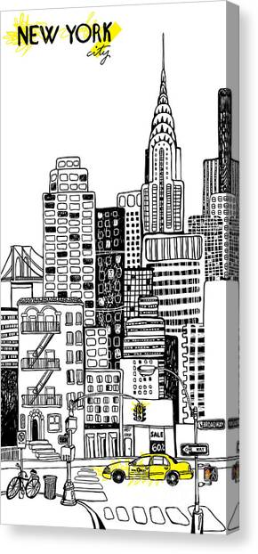 Block Canvas Print - New York by Artnlera