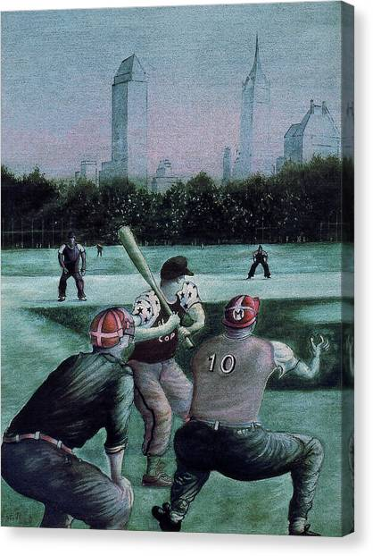 New York Central Park Baseball - Watercolor Art Painting Canvas Print