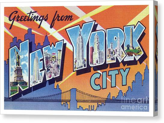 New York City Greetings - Version 2 Canvas Print