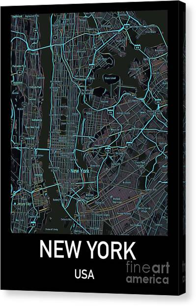 New York City Map Black Edition Canvas Print