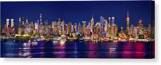 Skyscrapers Canvas Print - New York City Nyc Midtown Manhattan At Night by Jon Holiday