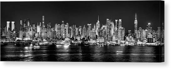 Skyscrapers Canvas Print - New York City Nyc Skyline Midtown Manhattan At Night Black And White by Jon Holiday