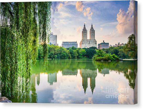 New York City, Usa At The Central Park Canvas Print by Sean Pavone