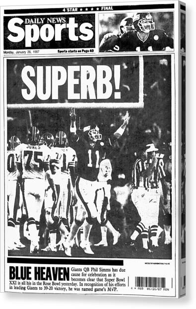 New York Daily News Back Page Dated Canvas Print