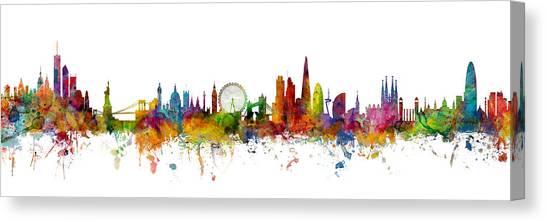 Barcelona Canvas Print - New York, London And Barcelona Skylines Mashup by Michael Tompsett