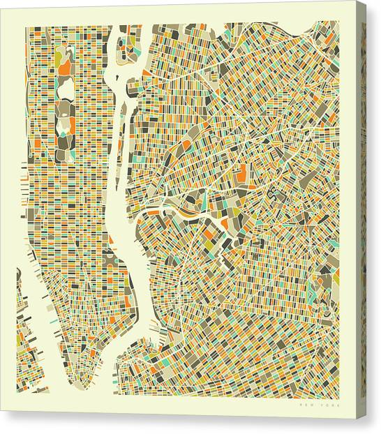 York Canvas Print - New York Map 1 by Jazzberry Blue