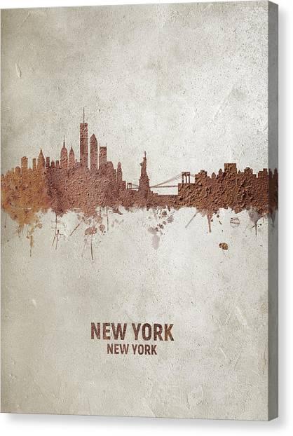 New York Skyline Canvas Print - New York Rust Skyline by Michael Tompsett