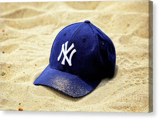 New York Yankees Beach Cap Canvas Print by John Rizzuto