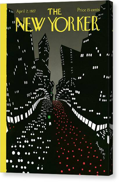 Night Lights Canvas Print - New Yorker Cover - April 2 1927 by Matias Santoyo