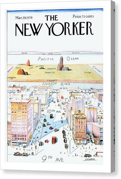 Manhattan Canvas Print - New Yorker March 29, 1976 by Saul Steinberg