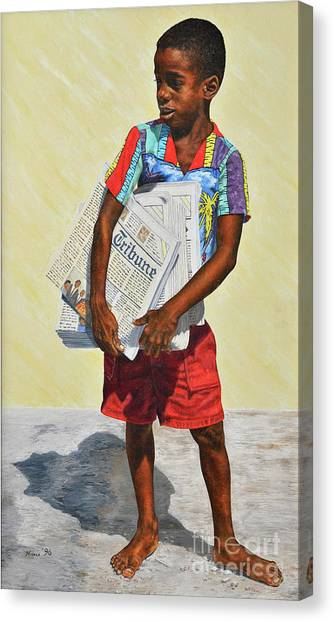 Newspaper Boy Canvas Print