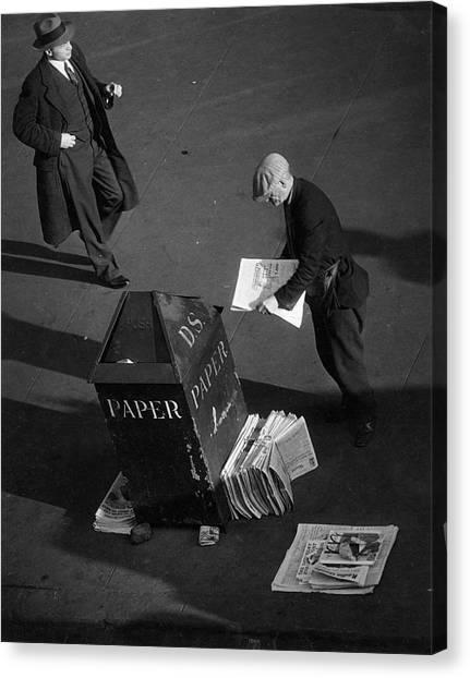 Newspaper Vendor Canvas Print